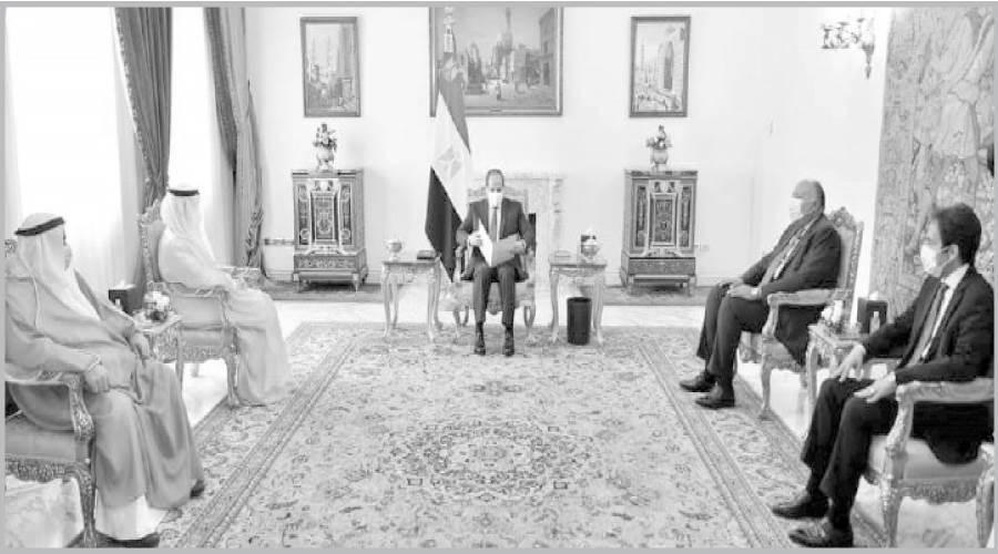 الرئيس السيسى يتلقى رسالة من الشيخ نواف الأحمد أمير الكويت